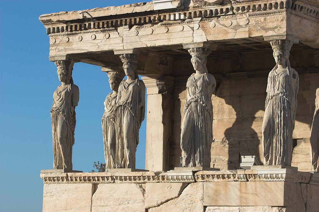 Cariátides no Templo do Erecteion, Acrópole de Atenas
